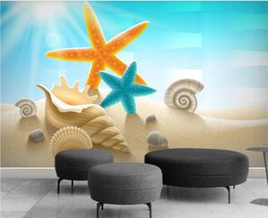 3D 배경 화면 사용자 정의 사진 벽화 현대 패션 해변 비치 불가사리 쉘 3D TV 배경 벽 장식 벽 예술 사진