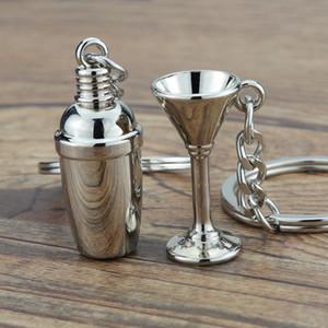 Mini porte-clés porte-clés cocktail shaker keychains keychains mignon 3d vin tasse promotion cadeau bijoux mode zinc alliage voiture porte-clés titulaires accessoires
