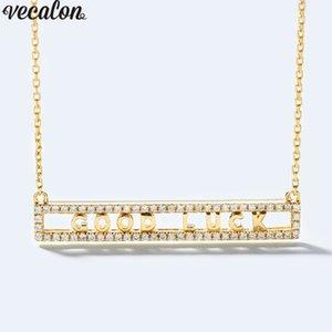 Ciondolo Vecalon Handmade Good Luck Ciondoli in argento sterling 925 5A zirconi con collana per le donne Gioielli da sposa all'ingrosso