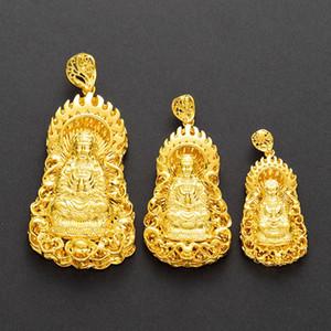 Vintage 18K or jaune rempli de Bouddha pendentif croyances bouddhistes collier pour les femmes Mens Classic Jewelry