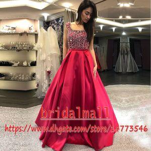 Perline di cristallo vino rosso Satin Prom Dresses 2019 strass elegante Scoop abiti da sera formale economici Backless Long Party Dress Pageant Ball
