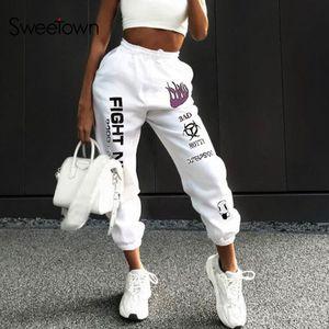 Sweetown informal Fuego Imprimir Pantalones holgados mujeres Hip Hop de cintura alta pantalones de la manera Bolsillos entrenamiento para mujer pantalón Joggers T200617