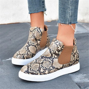 Flat short boots women 2020 new comfortable leopard casual round head wild large size women's boots