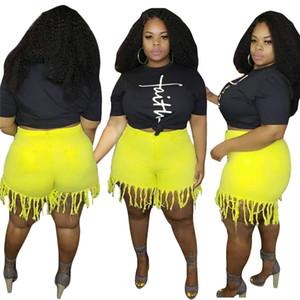 L-4xl Sommer-Frauen-kurz Quaste Jeans aus gewaschenem Denim Shorts mit hoher Taille Jeans Fashion Style Jahrgang weibliche Shorts Jeans gerade Hosen D6907