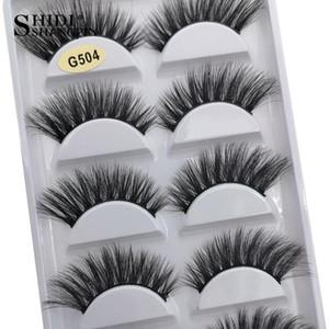SHIDISHANGPIN 5 Paare 100% Mink Wimpern 3D Natürliche falsche Wimpern Mink Lashes Weiche Wimpernverlängerung Makeup Kit cilios