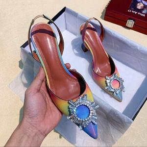 Moda Yeni Kristal Elmas Toka Bayanlar Yaz Yeni Pointy Rhinestones İnce Topuk Bayanlar Slingback Sandalet Kadınlar Seksi Parti Düğün Ayakkabı