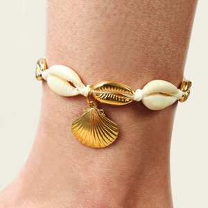 Simple scallop alloy handmade foot ornaments for women national style adjustable shell beach anklet Women's Footwear