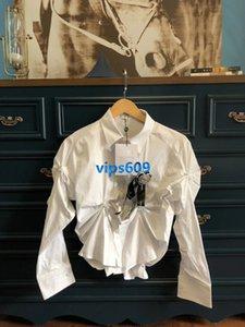 2020 Frauen Mädchen Shirt mit langen Ärmeln Revers Hals unregelmäßig mit Blumenbrosche Ruched kidstopsfashion Frauen Hemd grundieren Frauen Shirts Tops