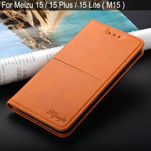 vente en gros pour Meizu 15 lite plus m15 luxe cuir Vintage Flip couverture coque avec fente pour carte Stand pour meizu 15 lite affaire funda capa