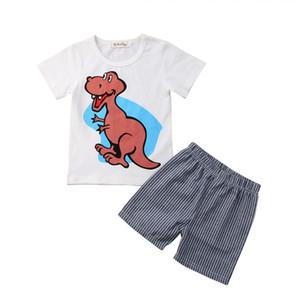 Симпатичные Модные летние детские мальчики дети девочка мультфильм динозавр спортивная одежда футболка топ + короткие брюки печати животных наряды 1-7 Т