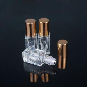 3ML botellas de perfume del aceite esencial Botella de cristal claro cuadrado Roll On con oro / plata del casquillo de acero inoxidable Rodillo