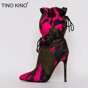TINO KINO Mujeres camuflaje caliente ata para arriba botas del tobillo de las señoras de punta estrecha Botas capacidad grande finos de los altos talones mujer de la manera Zapatos