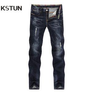 Kstun Hommes Jeans Déchiré Striaght Slim Épaisse Bleu Foncé Élasticité Peint Doux Biker Jeans High Street Détresse Cowboys Pantalon Y19060301