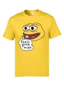 Pepe Quote Feels Good Man Yellow Cartoon T Shirts Mens Harajuku Camisetas Joking T Shirt Personlaized Tshirts Funny Comic