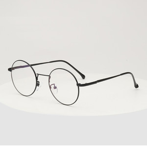 Round Ful-Rim Metal Vintage Eyeglass Frame UV resistant Sunglasses spectacles Glasses with plain lens 2033