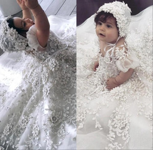 2019 Cute Flower Girl Dresses with Hood 3D Floral Appliques Sequins Short Sleeve Girls Pageant Dress first communion gowns
