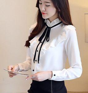 Nuovo arrivo vendita calda speciale moda versione coreana Chiffon Super Fairy Ruffled Bow Tie Bianco pizzo elegante Nobile Lady Top Tide Shirt