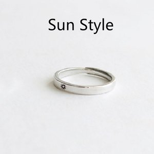 Silver Color Ring Simple Style Moon Sun Adjustable 925 Couple Rings For Girls Boys Best Friend Jewelry