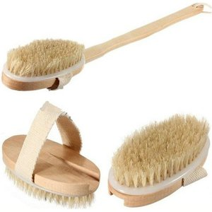 Natural Long Massage Handle Wooden Body Brush Home Bath Shower Back Spa Scrubber Detachable Free Shipping