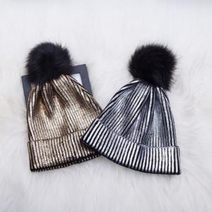 L'oro Stamp maglia Pom Berretti neve cappelli per adulti delle donne degli uomini Teschio Cappello invernale Slouchy scaldino della testa dei capelli Bonnet ZZA927