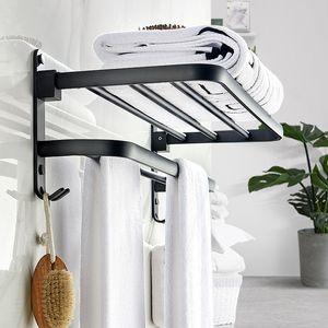 Negro mate de aluminio del espacio de Movable toalla de baño estante de 50 cm Conjunto portátil de baño / cocina para guardar Bastidores toalleros de montaje en pared T200506
