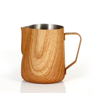 300 600Ml Coffee Milk Jug Graining Stainless Steel Frothing Pitcher Pull Flower Cup Espresso Frothers Mug Coffee Barista Tools Milk Jugs