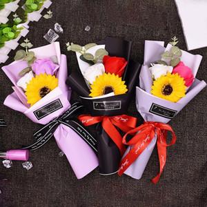 Taşıma çantası ile Carry Çanta Sevgililer Günü Düğün Dekorasyon Noel Hediyesi Sabun Güller Küçük Bouquet ile Güller Küçük Buket