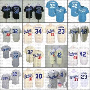 Dodgers Krem Gerileme Fernando Valenzuela Kirk Gibson Jackie Robinson 32 Sandy Koufax Jersey, Erkek Mitchell Ve Ness Los Angeles 06