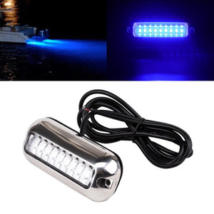 1pc Universal red green blue27 LED Marine Stainless Steel Under Water Pontoon Waterproof Boat Transom Light IP68