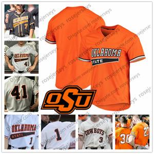 Custom Oklahoma State Cowboys 2019 Бейсбол Любое имя Номер Белый Серый Оранжевый Черный # 33 Тревор Бун 24 Колин Симпсон Мужчины Молодежь Малыш Джерси