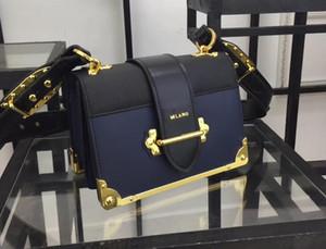 3A 1BD045 20cm Cahier Saffiano Kalbsleder Schulter Handtaschen, Bandverschluss vorne, Leder Futter mit Staubbeutel, freies Verschiffen L29
