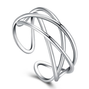 Rodio Sterling Silver Ring geometrico modello placcato il disegno semplice anello della fascia accessori moda unisex elegante regalo di Natale POTALA07