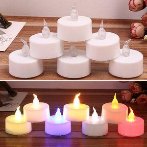 Luce del tè della candela del LED 24pcs / lot 3.7 * 4cm alimentato a batteria della lampada di simulazione della luce del tè di Natale della decorazione domestica Wedding del partito finte candele