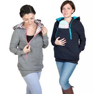 Estilo de los colores de moda 3 en una maternidad Embarazo embarazadas son portadoras de la mujer sudaderas con capucha de la capa del bebé camiseta de la mamá de la cremallera
