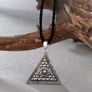 Fashion Jewelry Necklace CHENGXUN Egyptian Egypt Pyramid All-Seeing Evil Eye Charm Pendant Men Necklace Geometric Triangle Collier Male