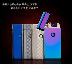 200PCS의 USB는 슬림 더블 아크 방풍 라이터 창조적 인 개성 전자 담배 라이터 무료 배송 10 색 아크 펄스 충전