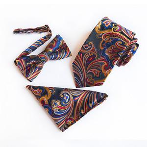 Rose Points homme d'affaires cravate Ensemble hommes Noeud papillon et cravate Mouchoir Bowtie Jacquard 3 PCS / set Tie Set Polyester