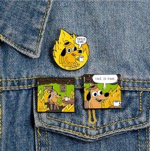 Humor Gráfico prendedores Dog Esta es fino esmalte pernos de fuego lindo broches de ropa vaquera Pin Bolsa Pasadores regalos para la familia