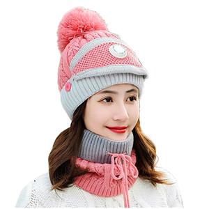 Cap Pompom Inverno Baixada Neck Máscara New Moda feminina Ladies malha Beanie Scarf Cabo Hat face 3pcs