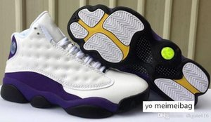 brang Cheap Mens Jumpman 13 basketball shoes 13s Melo Laker Rivals White purple Bordeaux Red aj13 air flights sneakers boots j13 for sale