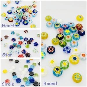 6/8/10/12 / 14mm Lampwork Bead Flor Spacer contas redondas / coração / liso da estrela de bola buraco Beads coloridos Jóias Acessórios Limpar Glass Bead DIY