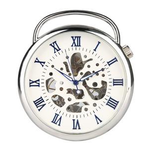 Orologio da taschino in argento per uomo, orologio da taschino digitale romano blu a mano meccanico per ragazzi, orologio sintetico per adolescente