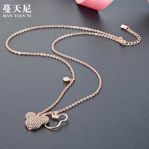 Lleno de diamantes Mickey S925 suerte Shih collar collar afortunado de plata con el Día de Año Nuevo Año Nuevo regalo al por mayor