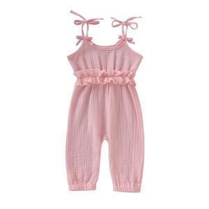 INS Bebek Kız Bebek tulumları Rompers Yaz Tasarımı Blank Ruffles Giyim Tulumlar Bebek Kıyafetler Pamuk Bodysuits Suspender 0-2T