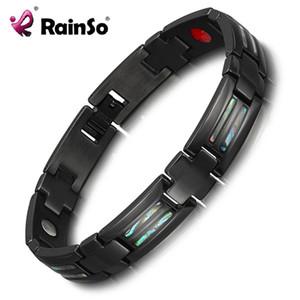 Rainso Charm Armbänder für Männer Schwarz Titan Carbon Armbänder Armreifen Homme Therapy Magnetic Bracelet Dropshipping