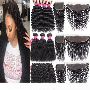 A Human brasileiro Pacotes cabelo com fechos 4X4 Lace encerramento ou 13x4 Lace frontal Encerramento Remy brasileira onda profunda pacotes com Closur
