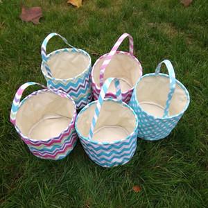 Striped Wave Easter Basket storage handbag Basket Gift Candy Bag portable Put Easter Eggs Festival Bucket LJJA3663-13