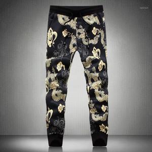 Pantalon de haute qualité Hommes coréenne Slim Fit Casual China Dragon Imprimer Harem Pantalon Homme Taille Plus Automne Streetwear hommes Joggers 5XL-M1