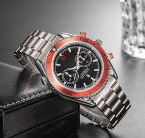 hombre de negocios diseñador de relojes de lujo grabado de acero inoxidable de plata deportiva correa de reloj brillante color de la esfera del reloj de pulsera con Fecha