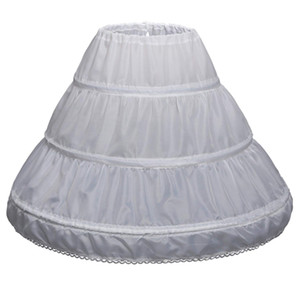 Children 3 Hoops Petticoats Wedding Bride Accessories Half Slip Little Girls Crinoline White Long Flower Girl Formal Dress Underskirt
